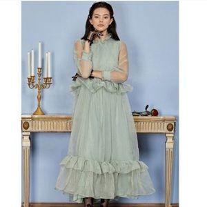 Sister Jane Luminous Ruffle Maxi Dress Green